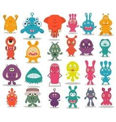 24 cute doodle monsters vector