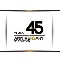 45 years anniversary black color simple design vector