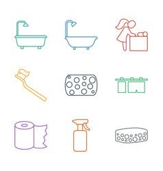 9 hygiene icons vector