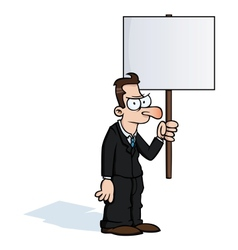 Angry business man with protest sign vector image