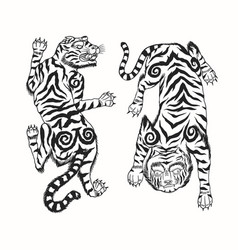 Asian japanese tiger wild animal for tattoo or vector