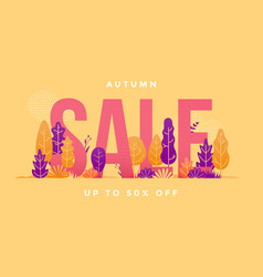 autumn sale shopping season leaves banner vector image