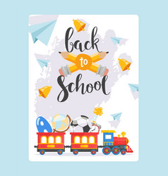 Back to school banner children railway and red vector