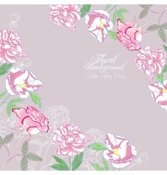 Background with flowers peonies and pink rose-03 vector image