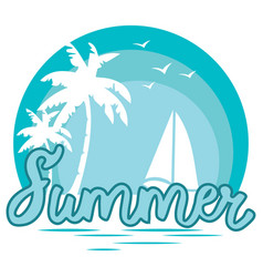 beach with palm trees for a print on a tee vector image