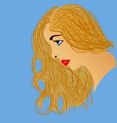beautiful blonde woman profile vector image