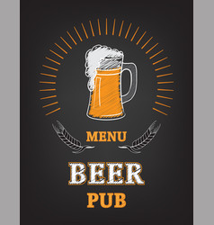 Beer menu page mug with foam vector