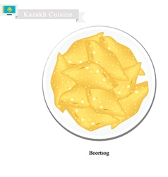 Boortsog or Kazakh Deep Fried Butter Cookies vector image