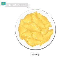 Boortsog or kazakh deep fried butter cookies vector