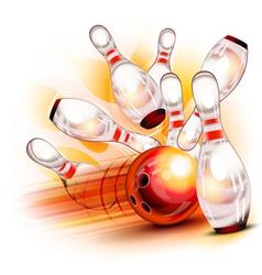 bowling ball crashing into shiny pins vector image