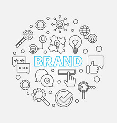 brand round in thin line style vector image