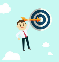 Business man hold arrow and shoot to the goal vector