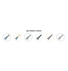 Butterfly knife icon in filled thin line outline vector