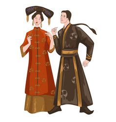 chinese people man and woman wearing clothes vector image