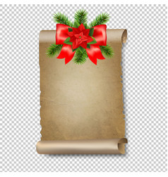 christmas old paper scrolls banner transparent vector image