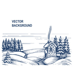 christmas sketch background house in snow vector image