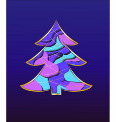 christmas tree card with paper inserts vector image