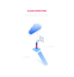 cloud computing - modern isometric web vector image