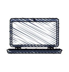 color crayon stripe cartoon laptop computer with vector image