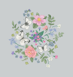 composition with flowers and butterflies vector image