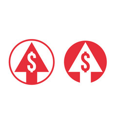 Cost price dollar increase exchange index icon vector