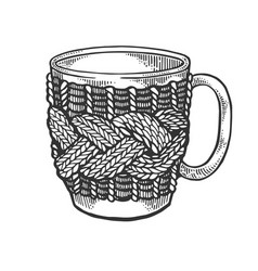 cup with handmade fancywork engraving vector image