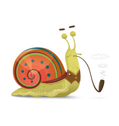 cute snail gentleman with smoking pipe isolated on vector image