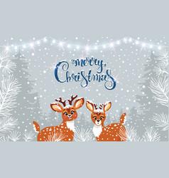 cute two deer winter vector image