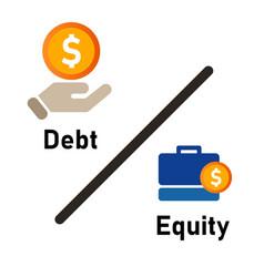 Debt to equity ratio company fundamental review vector