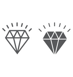 diamond line and glyph icon expensive and luxury vector image