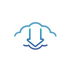 digital cloud logo vector image