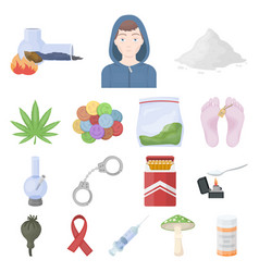 Drug addiction and attributes cartoon icons in set vector