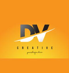 dv d v letter modern logo design with yellow vector image