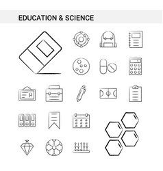 Education and science hand drawn icon set style vector