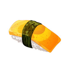 Egg sushi with nori in cartoon style vector