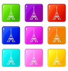 Eiffel tower set 9 vector