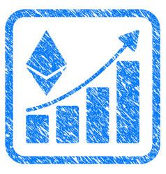 ethereum growth trend framed stamp vector image