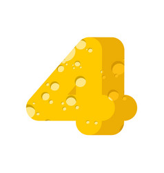 Figure 4 cheese font numeral four of cheesy vector