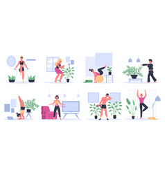 fitness at home people exercising practice yoga vector image