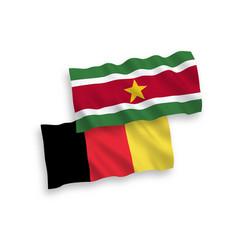 Flags belgium and republic suriname vector