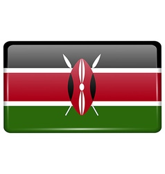 Flags Kenya in the form of a magnet on vector