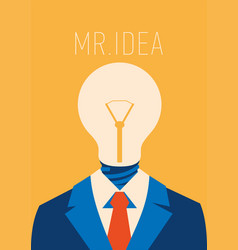 flat businessman with light bulb instead head vector image
