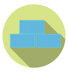 Flat cargo container Packaging Post service and vector image