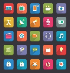 Flat media and communication icons vector