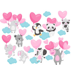flat set of adorable animals flying with vector image