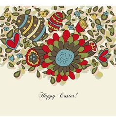 Floral Easter Card with Eggs vector image