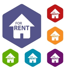 For rent rhombus icons vector image