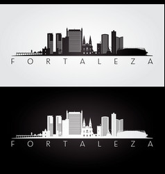 Fortaleza skyline and landmarks silhouette vector
