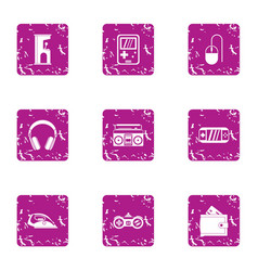 game controller icons set grunge style vector image