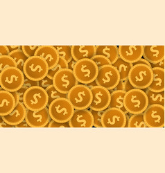 gold coins concept banner on the dark background vector image